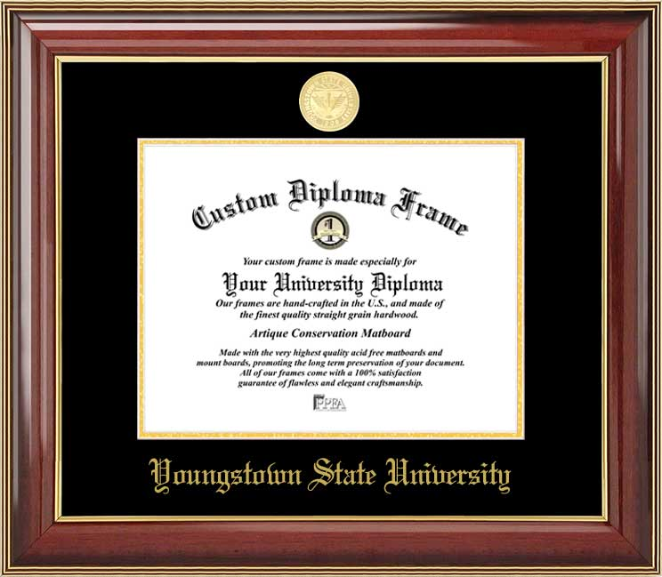 College - Youngstown State University Penguins - Gold Medallion - Mahogany Gold Trim - Diploma Frame