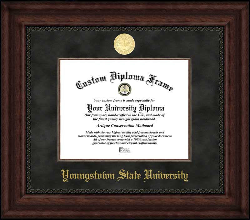 College - Youngstown State University Penguins - Gold Medallion - Suede Mat - Mahogany - Diploma Frame