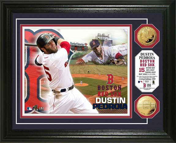 MLB - Boston Red Sox - Dustin Pedroia - Gold Coins - Framed Picture