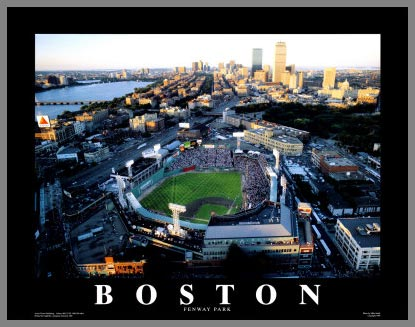 MLB - Boston Red Sox - Fenway Park - Green Monster - Med - Plaque Mounted & Laminated Print
