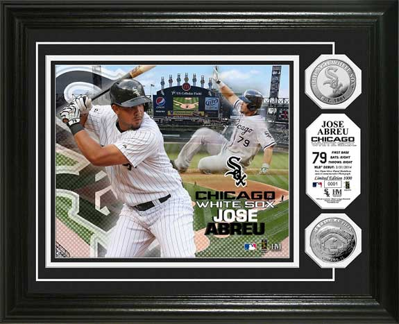 MLB - Chicago White Sox - Jose Abreu - Silver Coins - Framed Picture