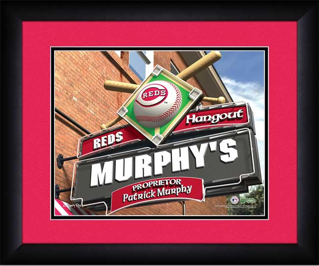 MLB - Cincinnati Reds - Personalized Hangout Sign - Framed Picture