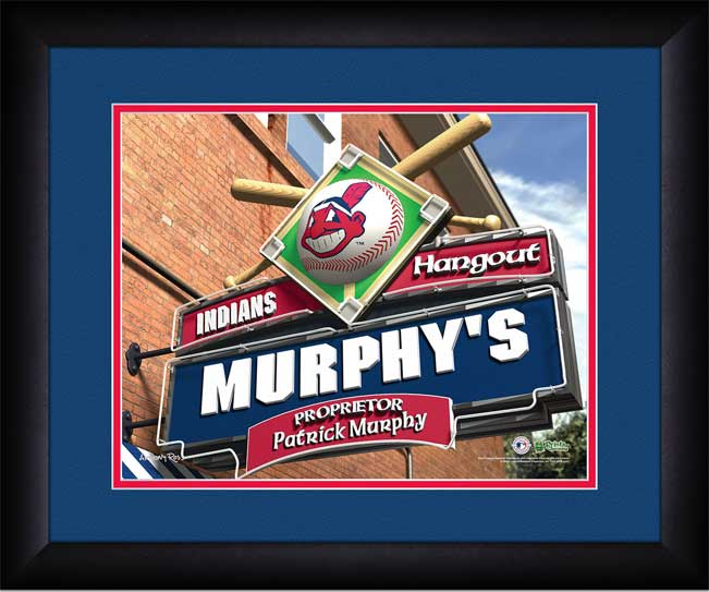MLB - Cleveland Indians - Personalized Hangout Sign - Framed Picture