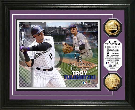 MLB - Colorado Rockies - Troy Tulowitzki - Gold Coins - Framed Picture