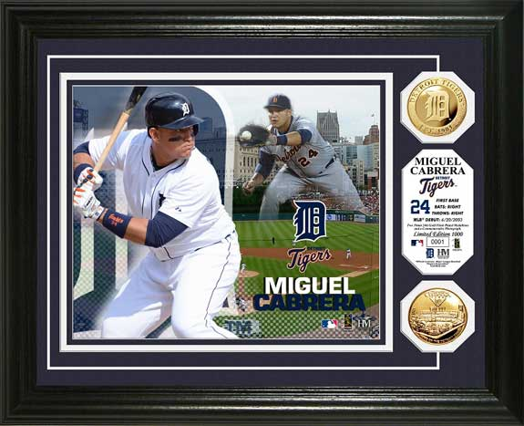 MLB - Detroit Tigers - Miguel Cabrera - Gold Coins - Framed Picture