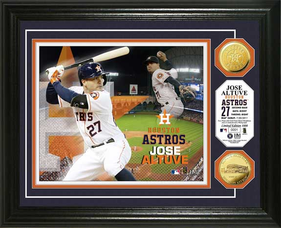 MLB - Houston Astros - Jose Altuve - Gold Coins - Framed Picture