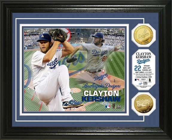 MLB - Los Angeles Dodgers - Clayton Kershaw - Gold Coins - Framed Picture