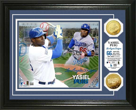 MLB - Los Angeles Dodgers - Yasiel Puig - Gold Coins - Framed Picture