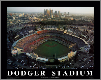 MLB - Los Angeles Dodgers - Dodger Stadium Aerial - Med - Plaque Mounted & Laminated Print