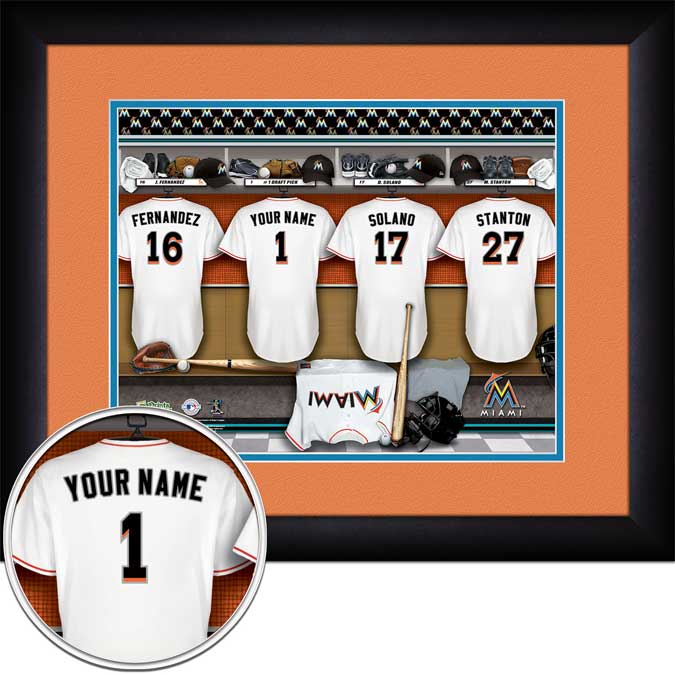MLB - Miami Marlins - Personalized Locker Room - Framed Picture