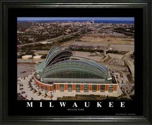 MLB - Milwaukee Brewers - Miller Park Aerial - Lg - Framed Picture