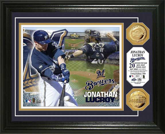 MLB - Milwaukee Brewers - Jonathan Lucroy - Gold Coins - Framed Picture