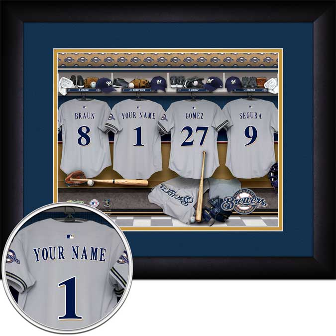 MLB - Milwaukee Brewers - Personalized Locker Room - Framed Picture