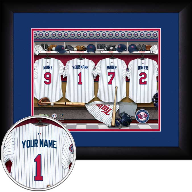 MLB - Minnesota Twins - Personalized Locker Room - Framed Picture