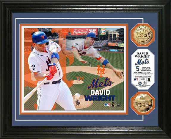 MLB - New York Mets - David Wright - Gold Coins - Framed Picture