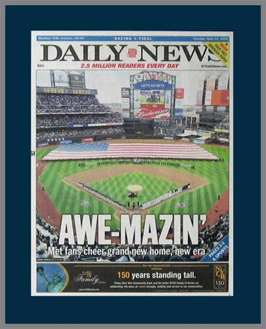 MLB - New York Mets - Awe-Mazin - Home Opener 2009 - Plaque Mounted & Laminated Newspaper