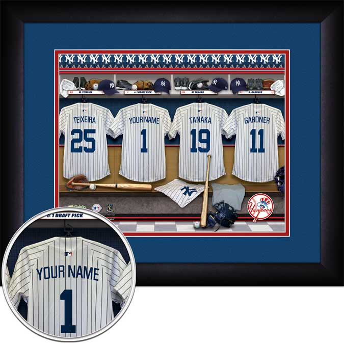 MLB - New York Yankees - Personalized Locker Room - Framed Picture