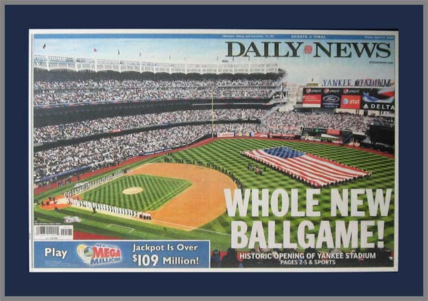 MLB - New York Yankees - New Ballgame - Home Opener 2009 - Plaque Mounted & Laminated Newspaper