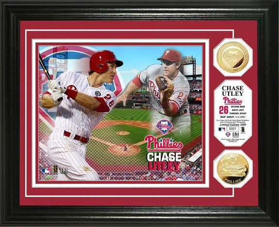 MLB - Philadelphia Phillies - Chase Utley - Gold Coins - Framed Picture