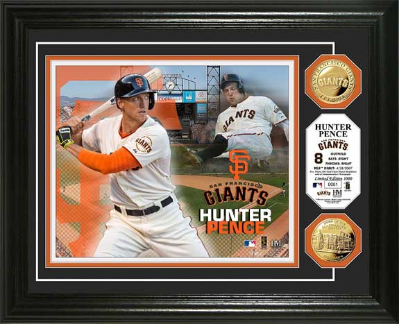 MLB - San Francisco Giants - Hunter Pence - Gold Coins - Framed Picture