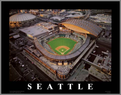 MLB - Seattle Mariners - Safeco Field Aerial - Dusk - Lg - Plaque Mounted & Laminated Print