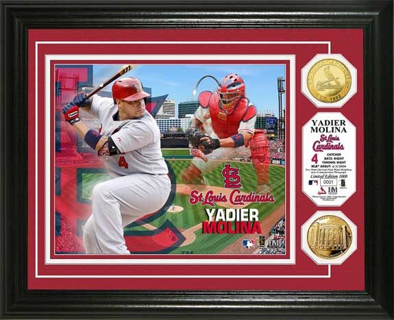 MLB - St. Louis Cardinals - Yadier Molina - Gold Coins - Framed Picture