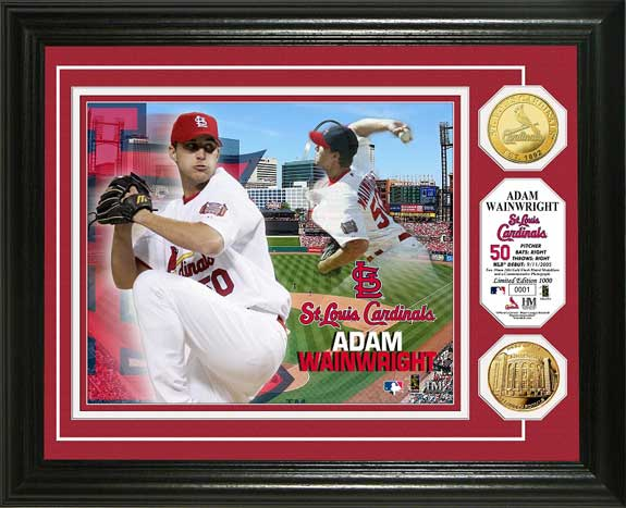 MLB - St. Louis Cardinals - Adam Wainwright - Gold Coins - Framed Picture