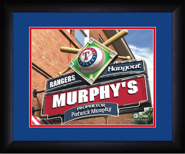 MLB - Texas Rangers - Personalized Hangout Sign - Framed Picture