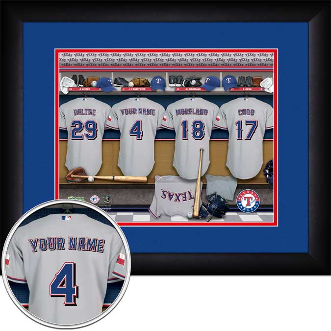 MLB - Texas Rangers - Personalized Locker Room - Framed Picture