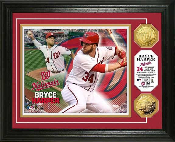 MLB - Washington Nationals - Bryce Harper - Gold Coins - Framed Picture