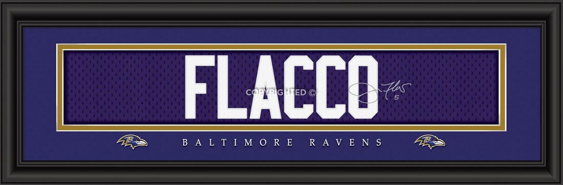 NFL - Baltimore Ravens - Signature Jersey Nameplate - Joe Flacco - Framed Picture