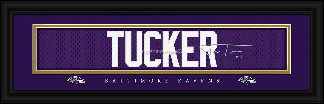NFL - Baltimore Ravens - Signature Jersey Nameplate - Justin Tucker - Framed Picture