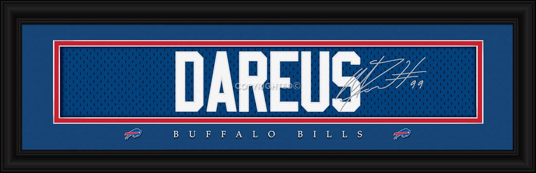NFL - Buffalo Bills - Signature Jersey Nameplate - Marcell Dareus - Framed Picture