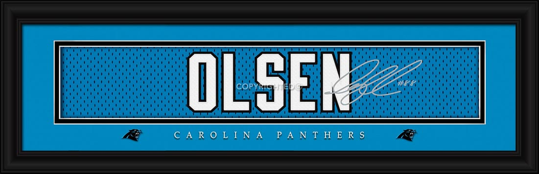 NFL - Carolina Panthers - Signature Jersey Nameplate - Greg Olsen - Framed Picture