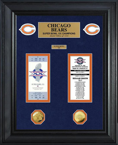 NFL - Chicago Bears - Super Bowl 20 XX - Tickets - Coins - Framed Picture