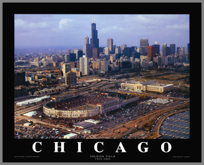 NFL - Chicago Bears - Old Soldier Field Aerial - Lg - Plaque Mounted & Laminated Print