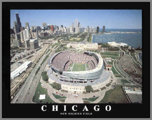 NFL - Chicago Bears - New Soldier Field Aerial - Sm - Plaque Mounted & Laminated Print