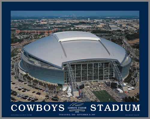 NFL - Dallas Cowboys - New Cowboys Stadium Aerial - Med - Plaque Mounted & Laminated Print