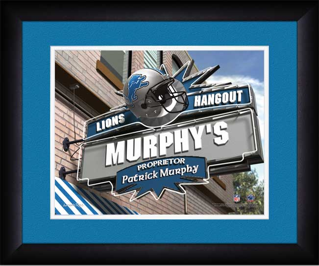 NFL - Detroit Lions - Personalized Hangout Sign - Framed Picture