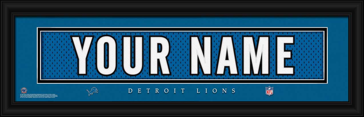 NFL - Detroit Lions - Personalized Jersey Nameplate - Framed Picture