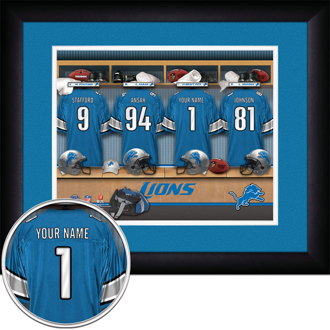 NFL - Detroit Lions - Personalized Locker Room - Framed Picture