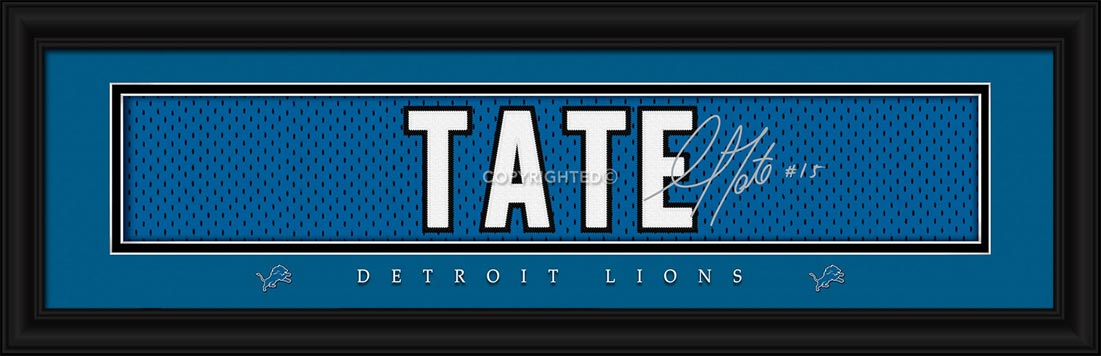 NFL - Detroit Lions - Signature Jersey Nameplate - Golden Tate - Framed Picture