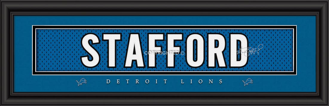 NFL - Detroit Lions - Signature Jersey Nameplate - Matthew Stafford - Framed Picture
