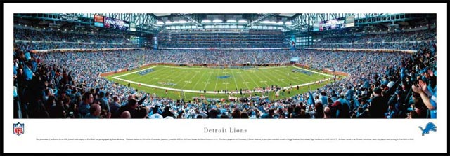 NFL - Detroit Lions - Ford Field - Plaque Mounted & Laminated Print