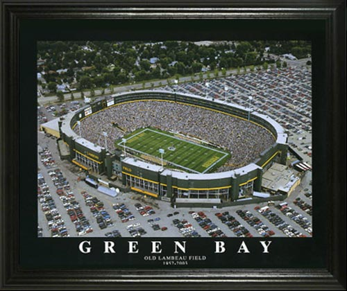 Green Bay Packers Framed Poster Print - Old Lambeau Field Aerial ...