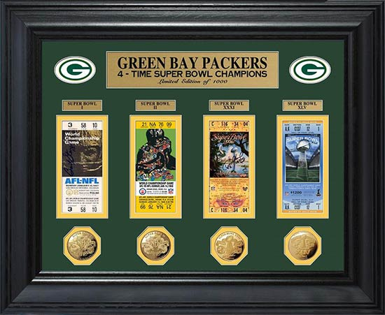 NFL - Green Bay Packers - Super Bowl 45 XLV - Tickets - Coins - Framed Picture
