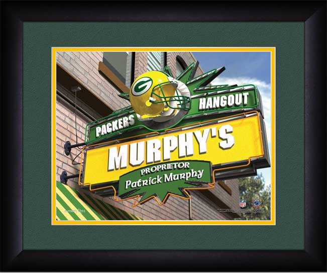 Green Bay Packers Framed Poster Print - Personalized Hangout Sign ...