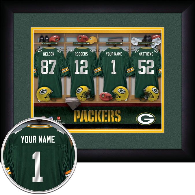 NFL - Green Bay Packers - Personalized Locker Room - Framed Picture