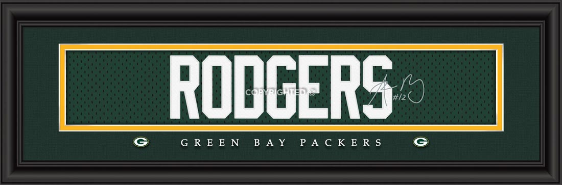 NFL - Green Bay Packers - Signature Jersey Nameplate - Aaron Rodgers - Framed Picture
