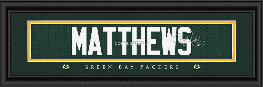 NFL - Green Bay Packers - Signature Jersey Nameplate - Clay Matthews - Framed Picture